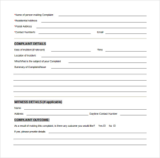 Customer Complaint Form Examples