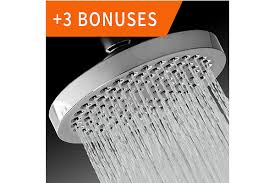 this showerhead can deliver even in high or low water pressure it has a removable water restrictor it has self cleaning nozzles that prevent lime and
