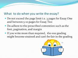 instruction for essay one % write a page long of essay what to do when you write the essay do not exceed the page limit i e