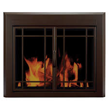 Pleasant Hearth Alpine Small Glass Fireplace Doors-AN-1010 - The ...