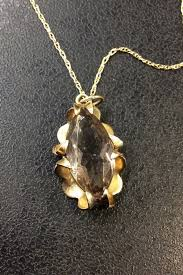 9ct gold smoky quartz pendant and chain