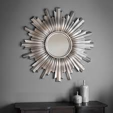 linden unique sun star design silver extra large round wall mirror 42 diameter