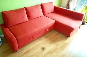 corner sofa bed dark orange colour with storage ikea farihiten good condition