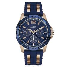 men s guess watches h samuel guess men s rose gold plated blue silicone watch product number 2621606