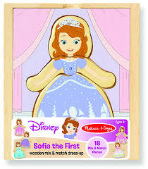 amazon melissa doug disney sofia the first mix and match dress up wooden play set 18 pcs melissa doug toys games