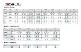 Gul Ladies Size Chart Wetsuit Warehouse