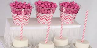 chevron pink baby shower theme