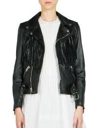 lyst saint lau fringed leather biker jacket in black