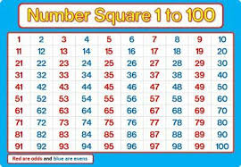 A4 Number Square 1 100 Laminated Blue And Pink Maths Chart Poster Education Ebay