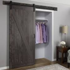sliding barn doors for closets.  For Cheval Ironage Solid MDF Panelled Slab Interior Barn Door With Sliding Doors For Closets Wayfair