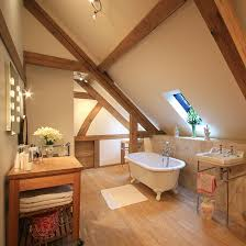 attic lighting. Two Ceiling Fittings Of Adjustable Spotlights And Lighting Around The Mirror Do A Great Job For Bathroom That Otherwise Relies On Limited Daylight From Attic T