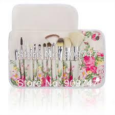 2016 fashion professional goat hair makeup brush kits 12 pcs brush cosmetic beauty make up set tools with rose flower bag