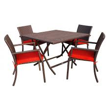 5pcs cafe square back chairs and folding wicker table dining set brick red cushions