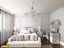 small white bedroom design black fabric curtain white fur area rug oval crystal glass chandelier lamp