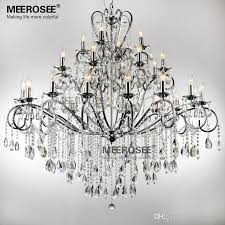 large 28 arms wrought iron chandelier crystal light fixture chrome for modern house iron and crystal chandelier prepare