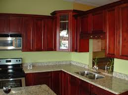 Classic Color Idea For Kitchen With Dark Wood Paint And Granite Top