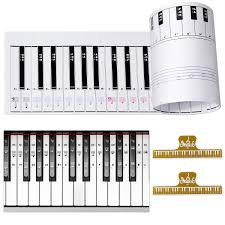 Ultimate Piano Keyboard Learning Aid Set 1 1 Scale 88 Keys Practice Cardboard Piano Note Chart Guide Transparent Piano Stickers For 54 61 88 Key