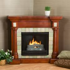 corner gas fireplace with varnished gany mantel and