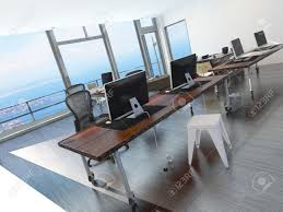 long office table. Modern Minimalist Coastal Office Overlooking The Sea With A Long Table Several Computer Workstations E