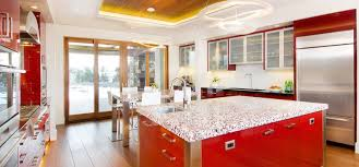 composite countertop glass kitchen recycled ruby red