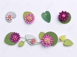 Paper Lotus Flower 3d Render Paper Lotus Flowers Wall Decoration Border Pink