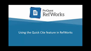 Using Quick Cite In New Refworks
