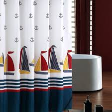 Ufriday Nautical Fabric Shower Curtain Water Proof with Lead Weight  Standard Size, Ocean Theme Polyester Bathroom Curtai ...