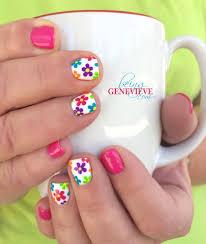Bright Flower Nail Art Design Tutorial Summer Glimpse Nails Nail Art Flower Nail Designs Nail