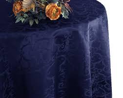 108 round versailles damask jacquard tablecloth navy blue 92523 1pc pk