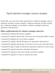 Top8solutionsmanagerresumesamples 150514023445 Lva1 App6892 Thumbnail 4 Jpg Cb 1431570932