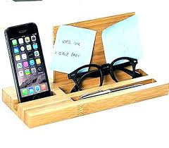 cell phone organizer office desk stand bamboo wood mobile charging station and