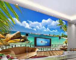 Scenery Wallpaper For Bedroom Summer Beach Balcony Scenery Tv Background Wall Decoration 3d