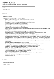 Financial Manager Resume Sample Velvet Jobs