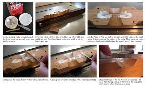 Mix the plaster two parts to one part water, dab water in the wood cavity  of the level, and spread the mixture with thin strips of wood.