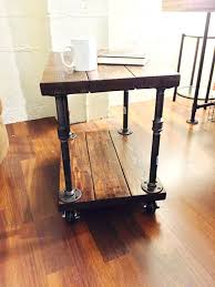 side table round industrial side table reclaimed industrial style side or coffee table with pipe