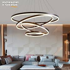 modern led chandelier light white coffee color circle pendant dimming lighting fixture lamp dining living room restaurant res lighting chandeliers 3