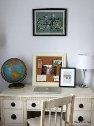 home office pod. Home Office With Vintage Globe, Painted Furniture, Bloggers Gonna Blog Print Pod