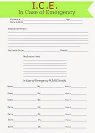 Ice In Case Of Emergency Forms Free Printables Pinterest In