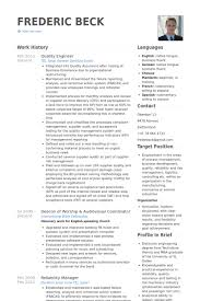 Quality Engineer Resume Enchanting Quality Engineer Resume Samples VisualCV Resume Samples Database