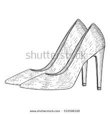 shoes heels drawing. women shoes. high heels. hand drawn sketch. illustration isolated on white background. shoes heels drawing