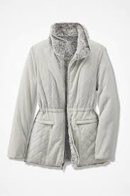 Reversible Faux Fur/Quilted Coat - Coldwater Creek & Reversible Faux Fur/Quilted Coat, Grey/Winter White, large Adamdwight.com