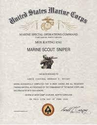 Marine Corps Scout Sniper Mos 8541 Usmc Scout Sniper School Certificate