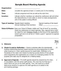 Sample Agendas For Board Meetings Free Sample Board Meeting Agenda Template Executive Project