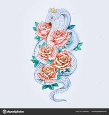 эскиз кобра эскиз змея кобра с красными цветами на белом фоне