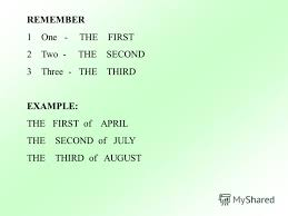 Презентация на тему ГОСУДАРСТВЕННОЕ ОБРАЗОВАТЕЛЬНОЕ УРЕЖДЕНИЕ  5 remember 1one the first 2two the second 3three the third example the first of the second of the third of
