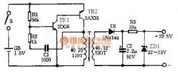 power supply circuit circuit diagram seekic com enter 1 5 v to 22 5 v output circuit principle diagram