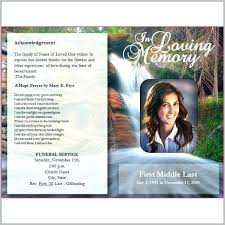Funeral Program Template Photoshop Free Templates 1 Resume Examples