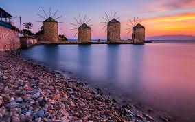 Windmills In Chios Aegean Sea Greece 4k ...