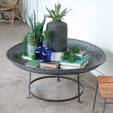 round coffee table antique metal bowl with iron base