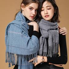 2019 Autumn Winter Female <b>Wool Plaid Scarf Women</b> Cashmere ...